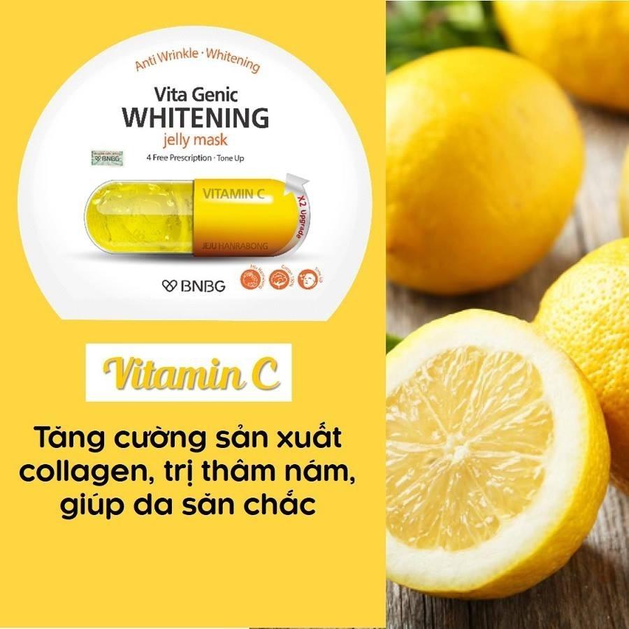 Mặt nạ giấy dưỡng da trắng sáng và làm đều màu da BNBG Vita Genic Whitening Jelly Mask (Vitamin C) 30ml