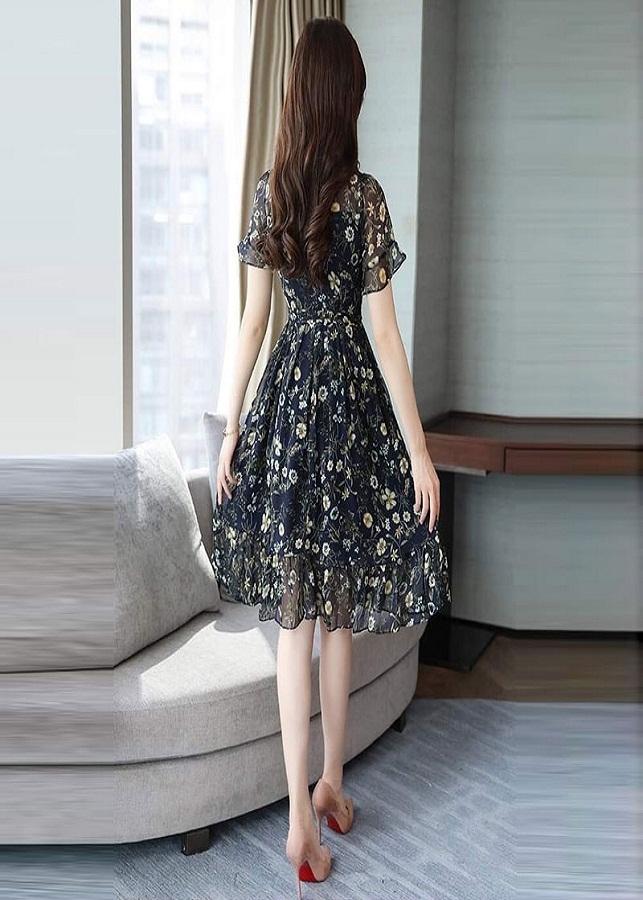 Đầm Voan Hoa Cúc In 3D Xòe Hai Tầng Cao Cấp