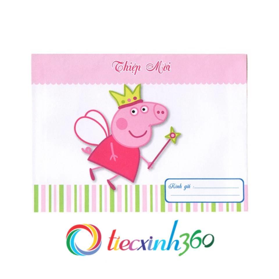 Combo 10 thiệp mời sinh nhật heo Peppa