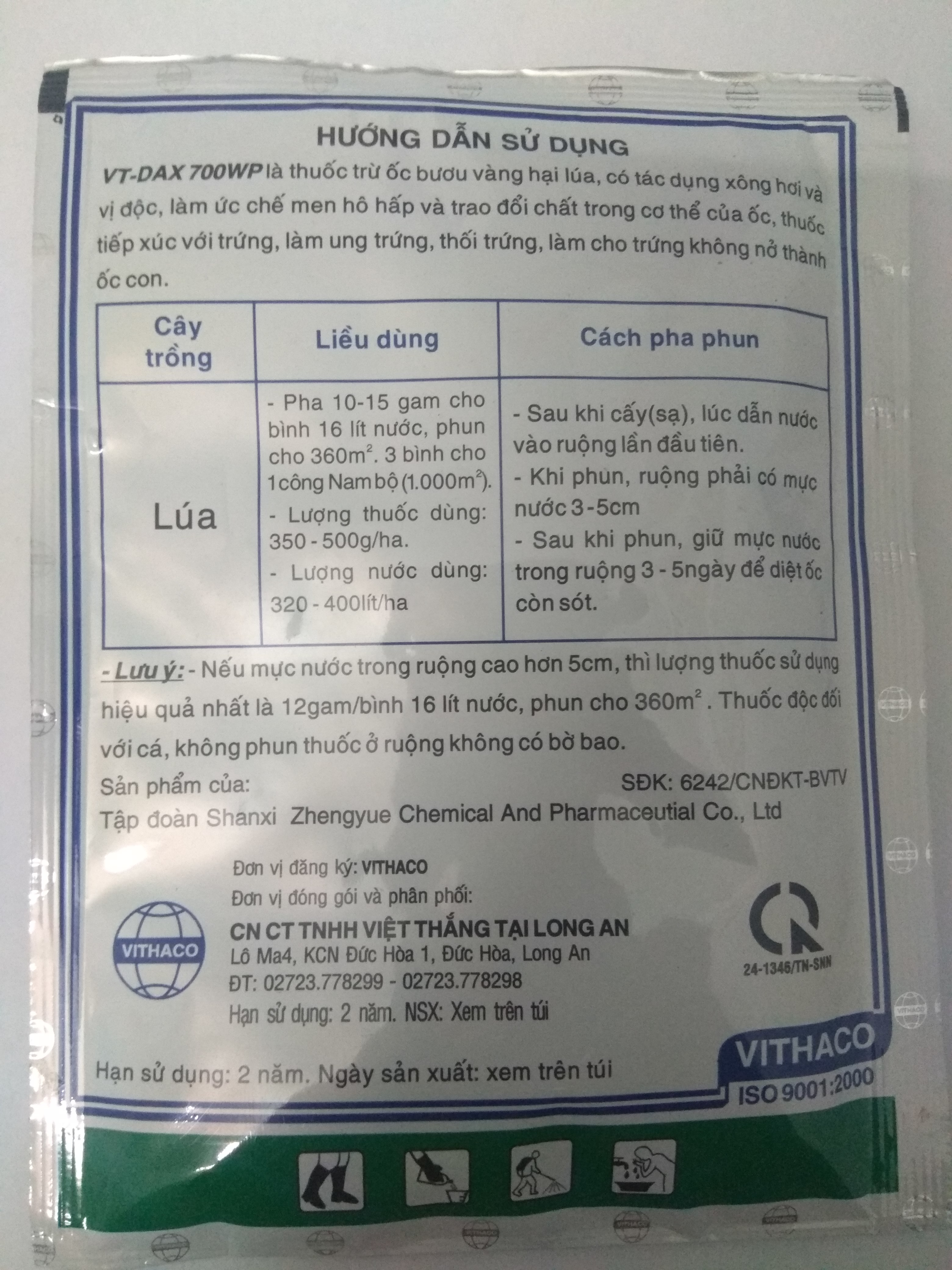Thuốc diệt ốc bươu vàng dạng phun xịt VT-Dax 700wp gói 35g