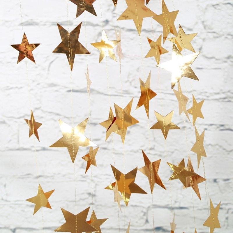 Dây garland trang trí hình ngôi sao ép kim - Vàng
