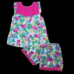 Z190-M5- Bộ lanh bé gái, cộc tay, dáng xòe, in hoa , hồng đậm, size to 11-16.Vải lanh là một loại vải được làm từ sợi của cây lanh.