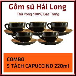 COMBO 5 tách capuccino gốm sứ Bát Tràng 220ml men đen lòng gấm