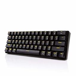 Bàn phím cơ không dây RK61 Blue Switch - phím vuông đen LED vàng