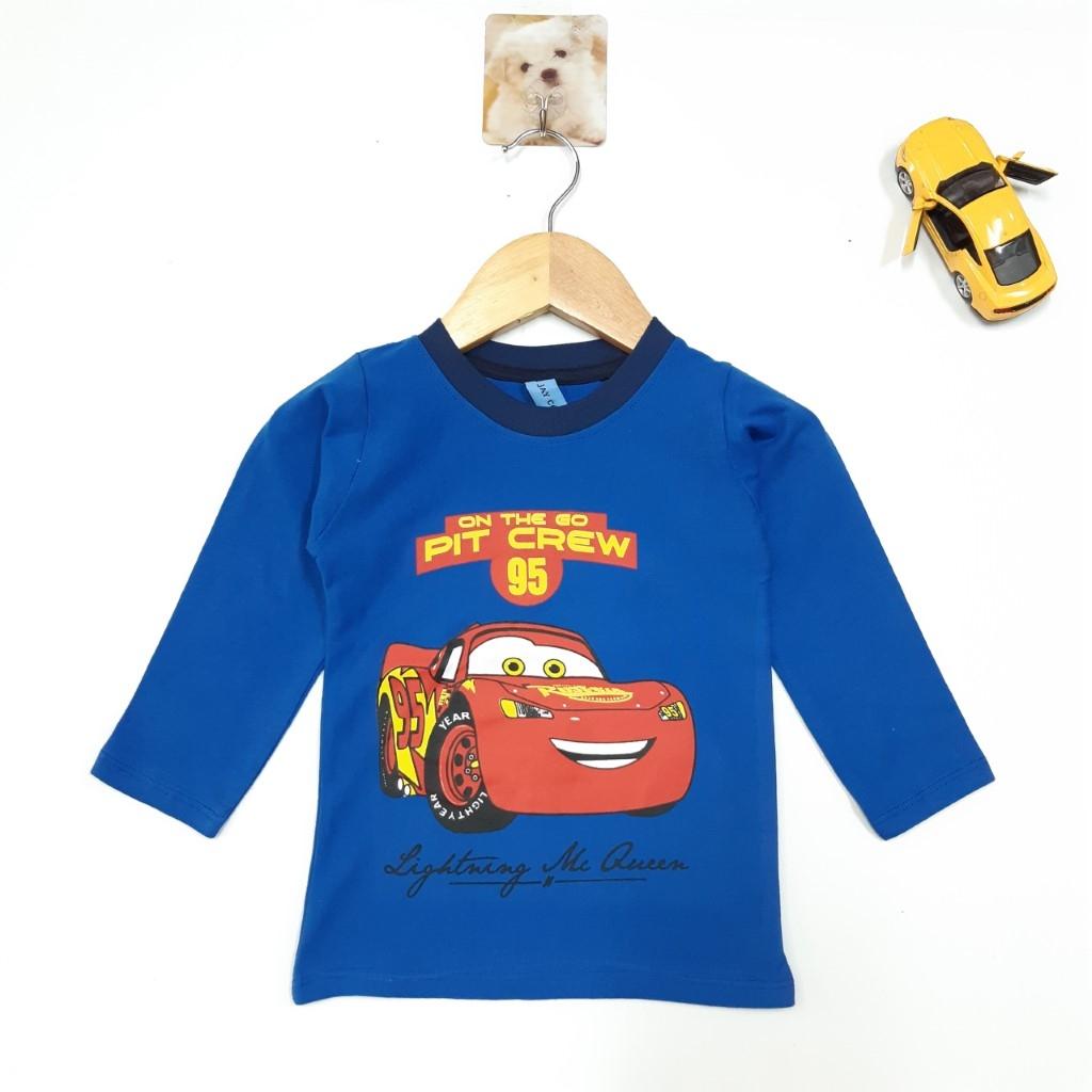 DG59-AT-08- Áo tay dài bé trai, chất cotton mềm mịn, in hình và chữ, áo lẻ có nhiều màu size 10-15kg, made in Việt Nam