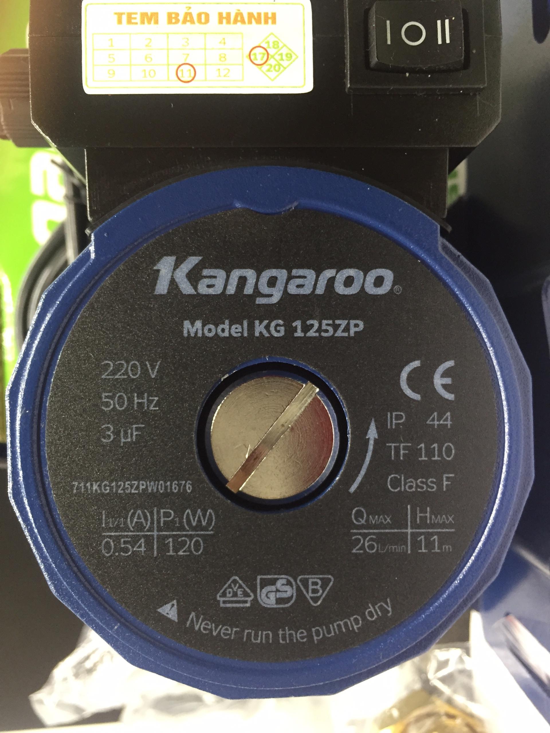 Máy bơm trợ lực nước yếu - Kangaroo KG125ZP   Tự động tăng áp - Dùng cho sen vòi, máy giặt