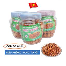 Combo 6 hủ Đậu Phộng Rang Phú Vinh | Vị tỏi ớt 75g