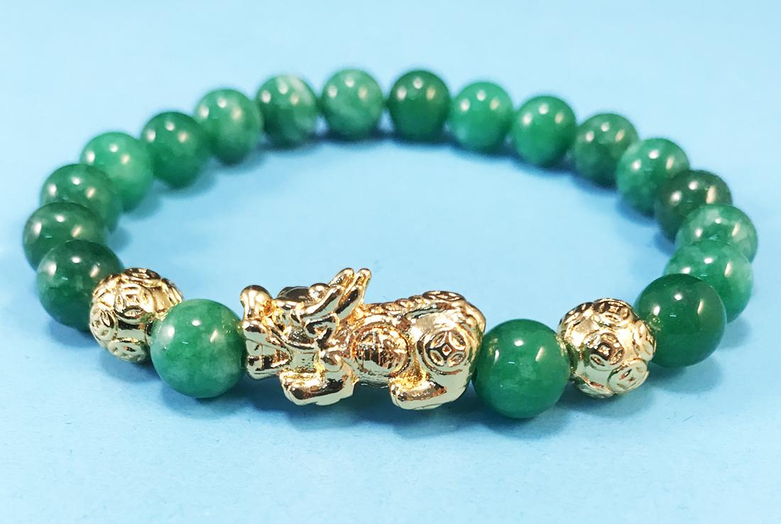 Vòng phong thủy đẹp đá Cẩm Thạch Xanh mix Tỳ Hưu Vàng dành cho nữ cá tính phong thủy hợp mệnh Mộc Hỏa