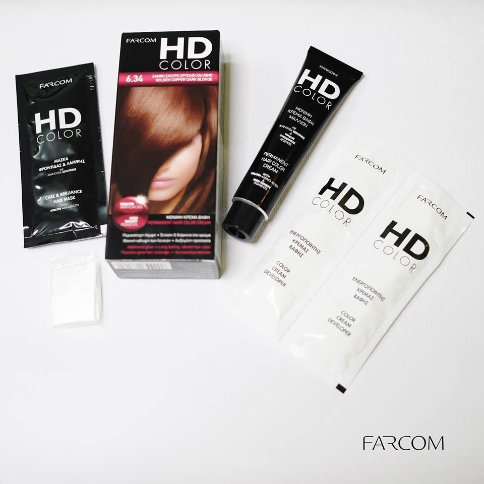 Màu nhuộm Farcom HD Color 6.34 Golden Copper Dark Blonde (140ml) - Màu Nâu Đồng 6.34