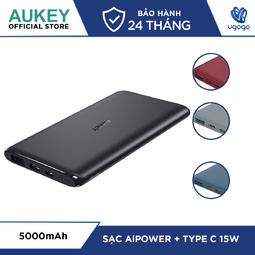 Pin Sạc Dự Phòng 5000mAh Aukey PB-XN5 ( Màu xanh ) Công Nghệ AiPower Thông Minh Cổng USB-C 15W - Hàng Phân Phối Chính Hãng