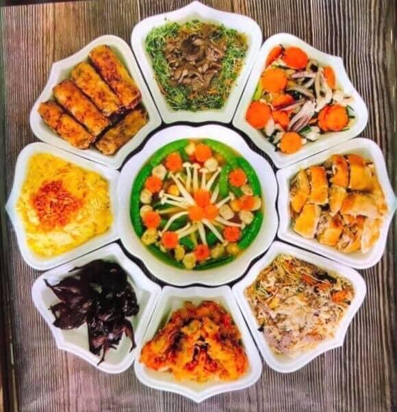 Bộ đồ ăn 9 món hoa sen