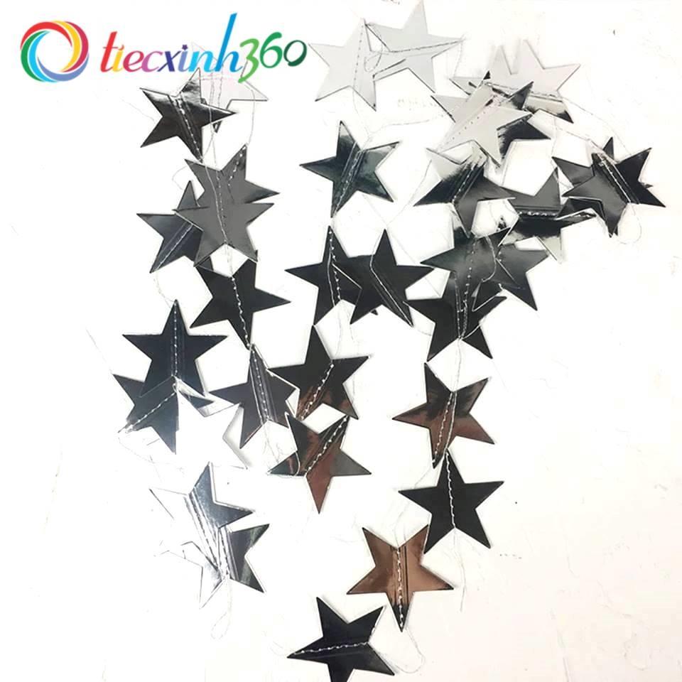 Dây garland trang trí hình ngôi sao ép kim - Bạc