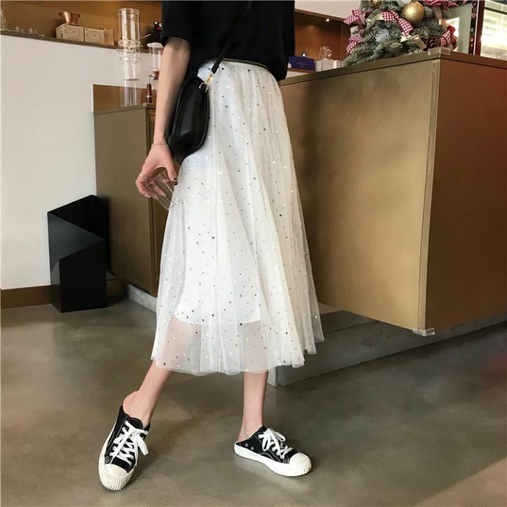 chân váy midi lưới ngôi sao Mã: VN852 - TRẮNG