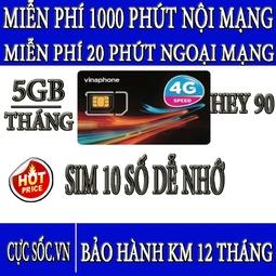 Sim 4G Vinaphone Hey90, Tặng 5GB-Tháng + 1000 Phút Nội Mạng