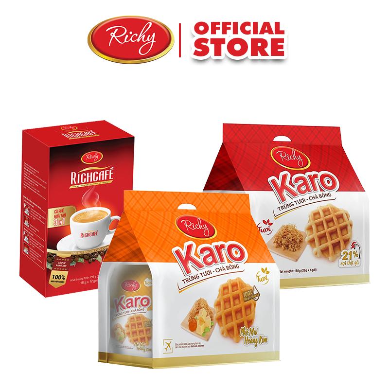 Combo Cafe Richy 3in1 , Bánh tươi Karo Hoàng Kim và Bánh tươi Karo Chà bông