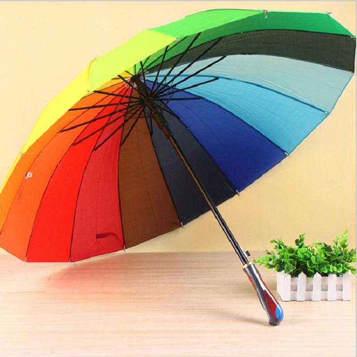 Ô dù đi nắng mưa 7 màu loại lớn tự bật