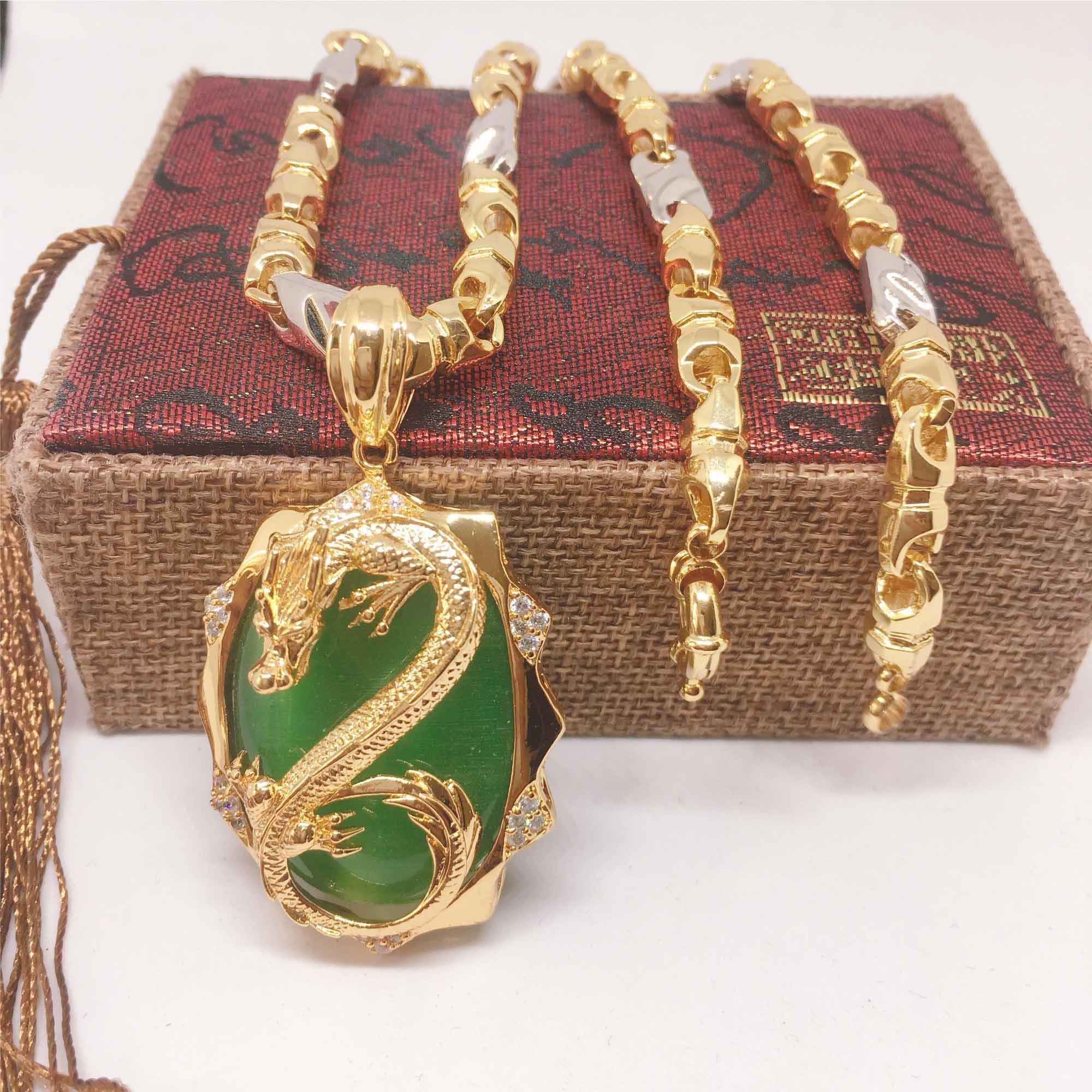Dây chuyền vàng thiên long đá xanh nam, vòng cổ vàng nam Vàng cao cấp, Bảo tín Jewelry