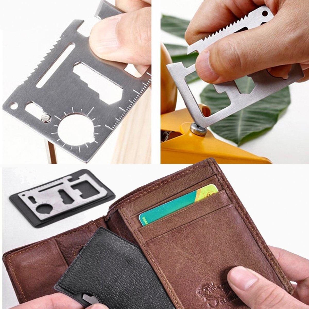 Bộ 5 Miếng Thép Đa Năng 11 Công Dụng Thẻ Phượt Đa Năng - Steel Credit Card Survival Tool (Màu Bạc)