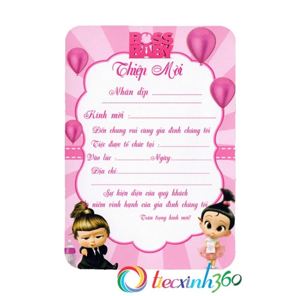 10 thiệp mời sinh nhật bé gái Boss Baby