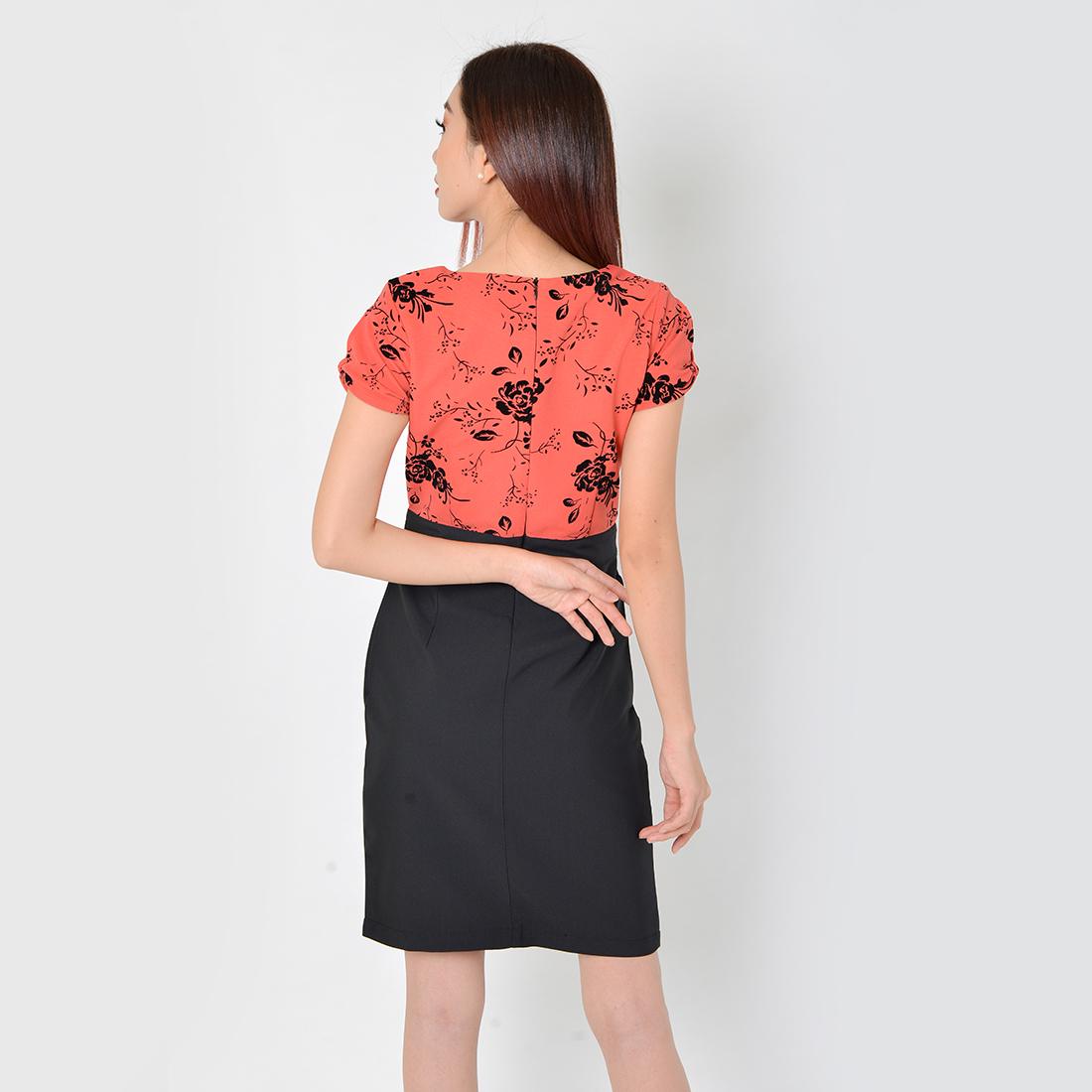 Đầm Công Sở Thời Trang Eden Phối Màu - D324 - Màu hồng