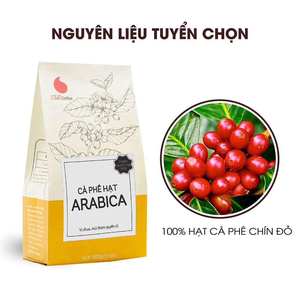 Cà phê hạt rang mộc Arabica Light Coffee, nguyên chất, thơm lâu vị chua thanh, đắng nhẹ - 1kg/2 gói