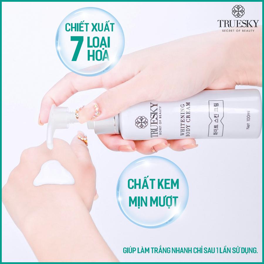 Combo tắm trắng toàn thân Truesky hương nước hoa Lavender gồm 1 chai ủ trắng 100ml & 1 chai dưỡng trắng Lavender 100ml