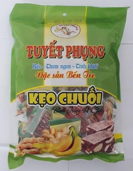 COMBO 2 BỊCH Kẹo chuối bánh tráng đậu phộng Tuyết Phụng_Bến Tre