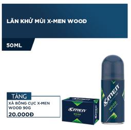 Lăn khử mùi X-men Wood 50ml (Tặng Xà bông cục X-Men Wood 90g) - Date mới nhất