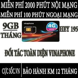 Sim 4G Vinaphone HEY195 - Tặng 9GB-Tháng + Nghe Gọi Miễn Phí