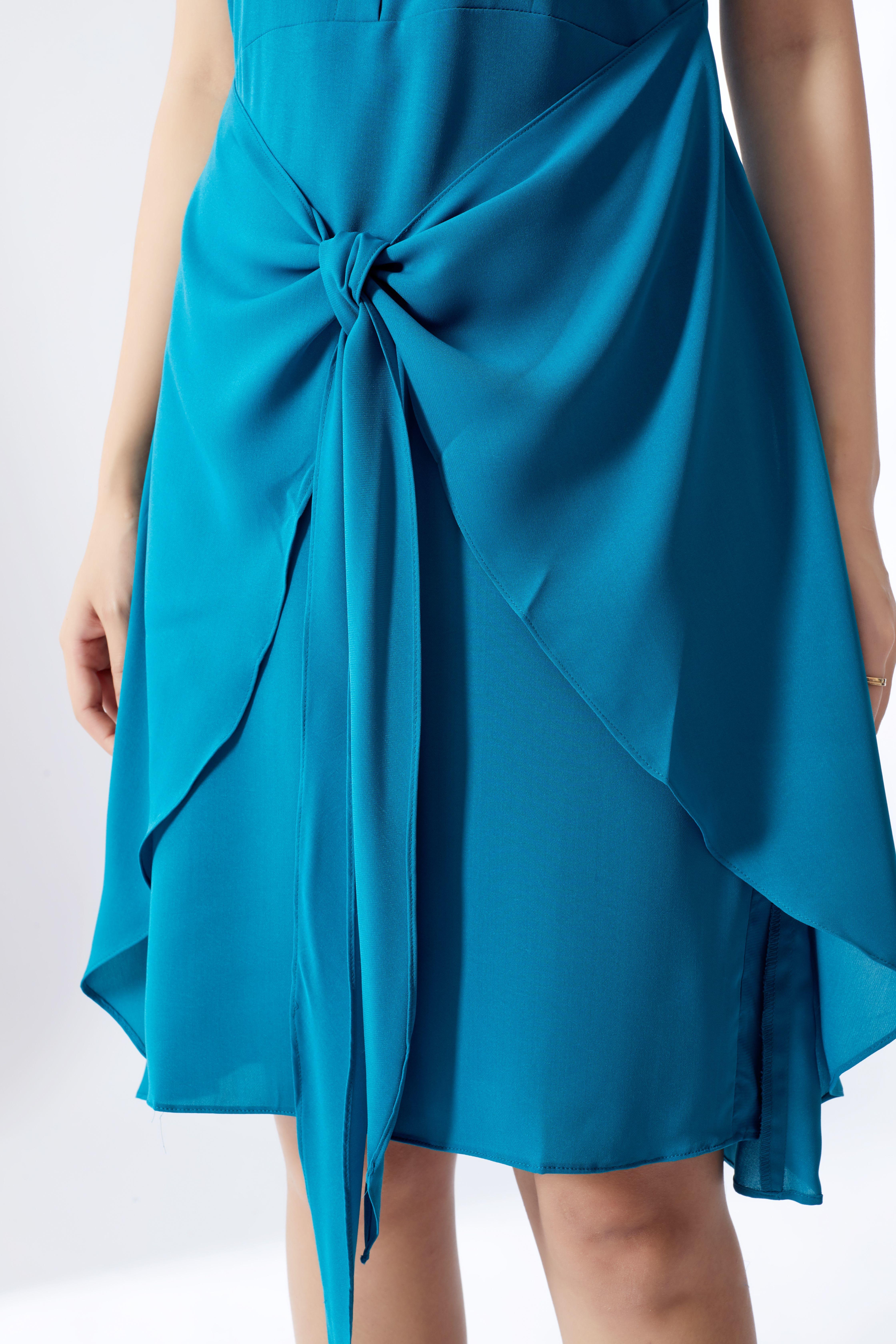 Đầm liền chất tuýt xi HeraDG SDP18075 màu xanh cổ vịt