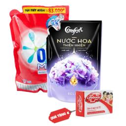 Combo OMO nước giặt máy cửa trên 1,7kg + Nước xả vải Comfort hương nước hoa thiên nhiên Bella 1,6L ( Tặng 1 Xà bông lifebuoy 90g)