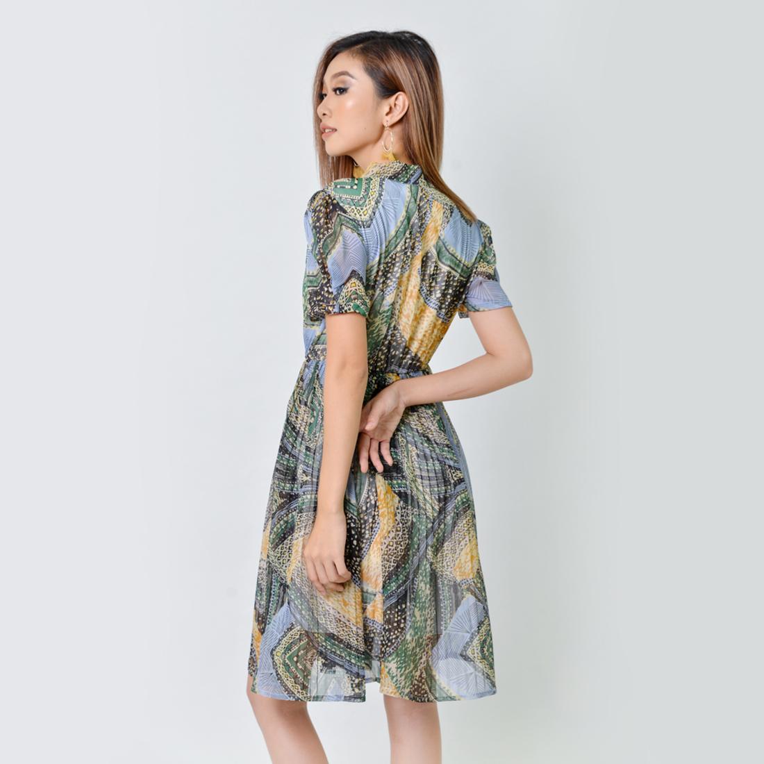 Đầm Xòe Thời Trang Eden Dập Li Họa Tiết - D357 - Màu Xanh vàng