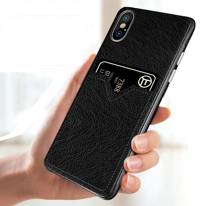 Bao da Iphone X, Xs, Xs Max kiêm khe đựng thẻ, card siêu tiện lợi HaininhShop