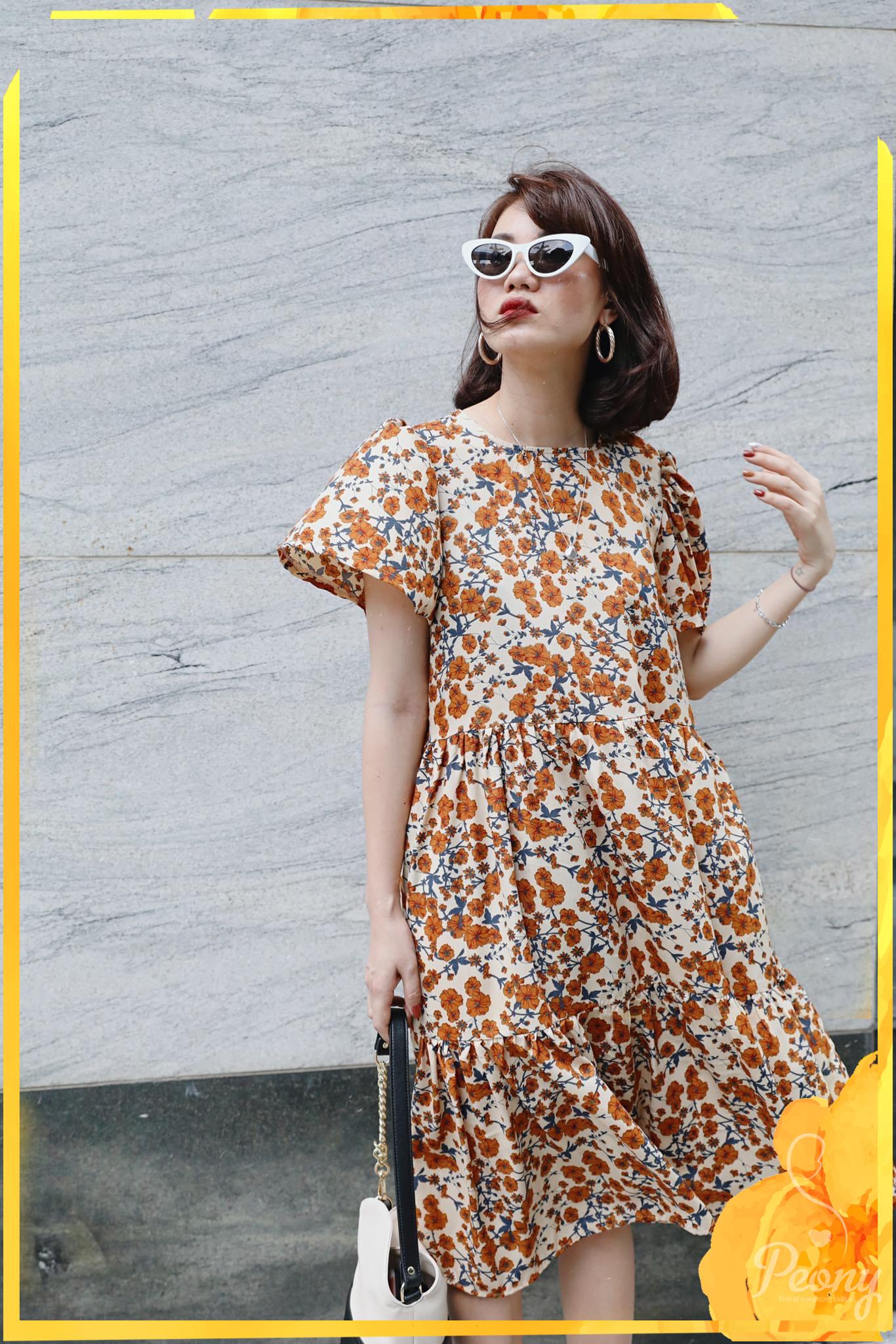 [Hot Deal] Đầm bầu hoa nâu thời trang thiết kế cao cấp