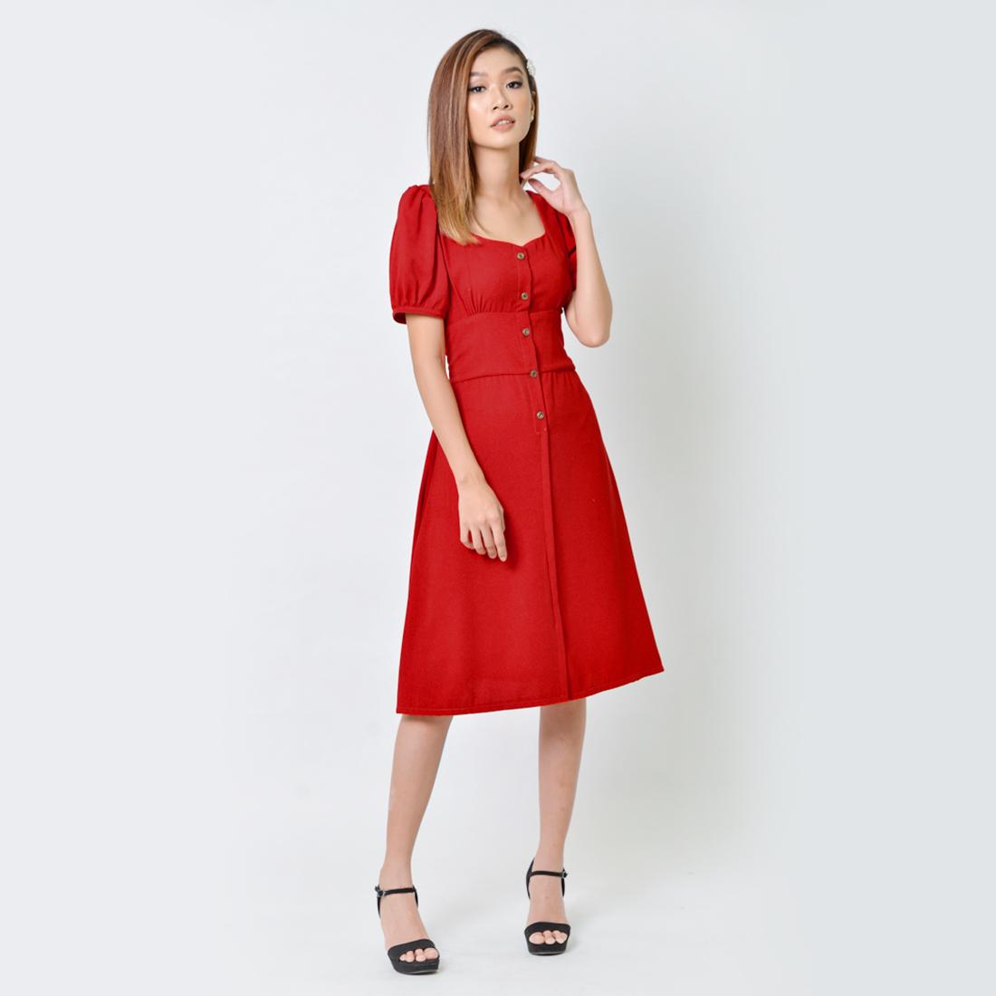 Đầm Chữ A Thời Trang Eden Cổ Vuông - D355 - Màu Đỏ