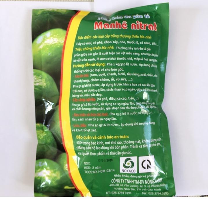 Phân bón Manhê Nitrat gói 1kg giúp lá cây luôn xanh tốt, tổng hợp nhiều dưỡng chất nuôi cây, làm tăng năng suất.