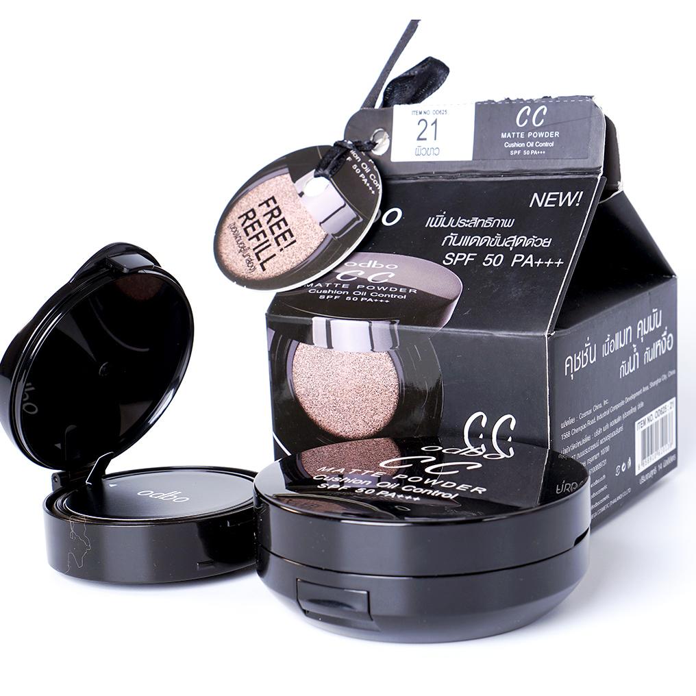 Phấn nước CC Odbo Cushion Matte Powder Oil Control Thái Lan 14g - Kèm lõi 21.Tone trắng sáng