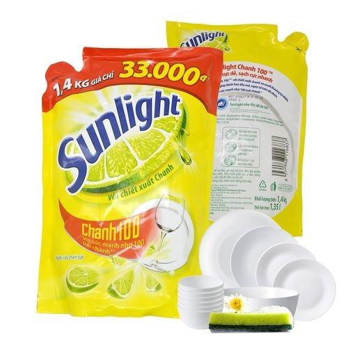 Nước rửa chén Sunlight chanh 100 Túi 1.4KG