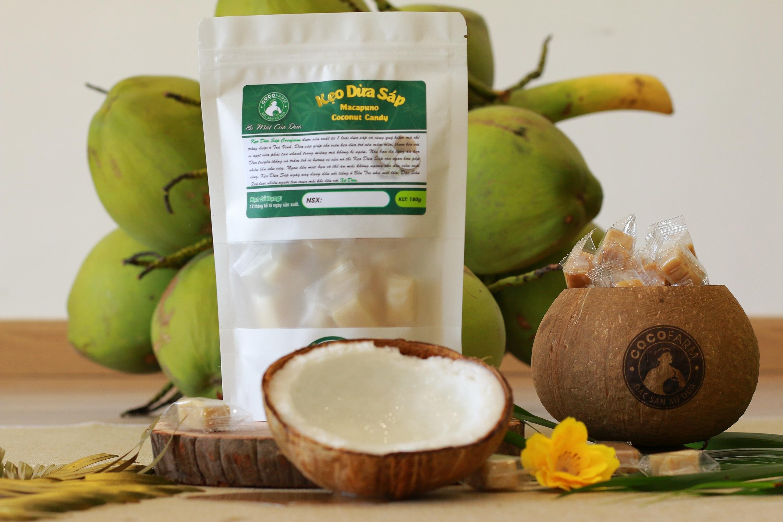 Kẹo Dừa Sáp Bịch Zip 180g Cocofarm