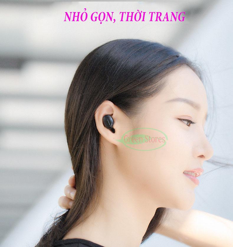 Tai nghe Bluetooth cao cấp GK-T1 kiêm sạc dự phòng, tai nghe không dây siêu trầm nhét tai, tai nghe vô hình, kiểu dáng thể thao,Chống ồn- chống nước, có mic, dùng cho điện thoại iphone, xiaomi, Samsung,sony,có đế sạc- GINKA