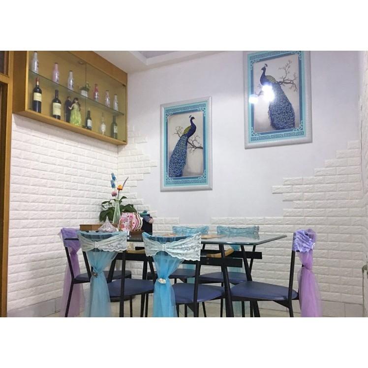Xốp dán tường 3D giả gạch khổ 70x77cm giá rẻ loại 5mm - màu trắng
