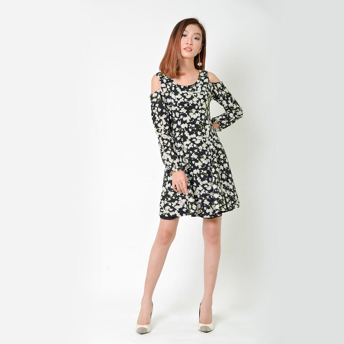 Đầm Xòe Thời Trang Eden Dài Tay In Hoa - D335 - Màu Đen