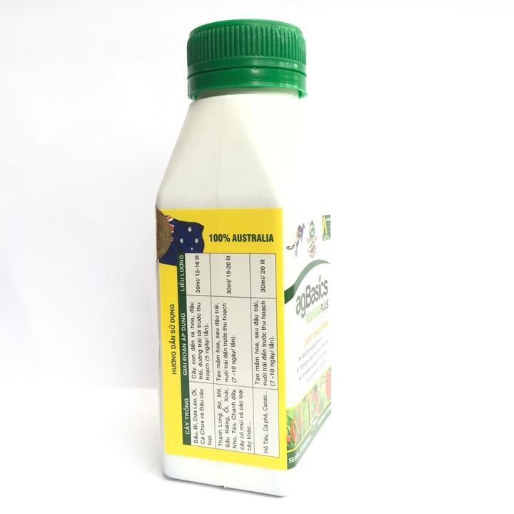 Phân bón hỗn hợp NPK agBasics Seaweed Plus chai 250ml nhập khẩu Úc.