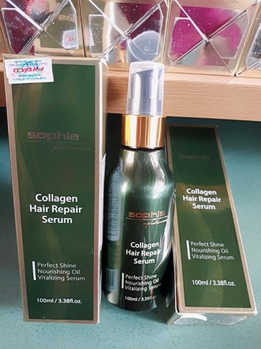 tinh dầu dưỡng phục hồi tóc hư tổn Collagen Sophia Platinum 100 ml