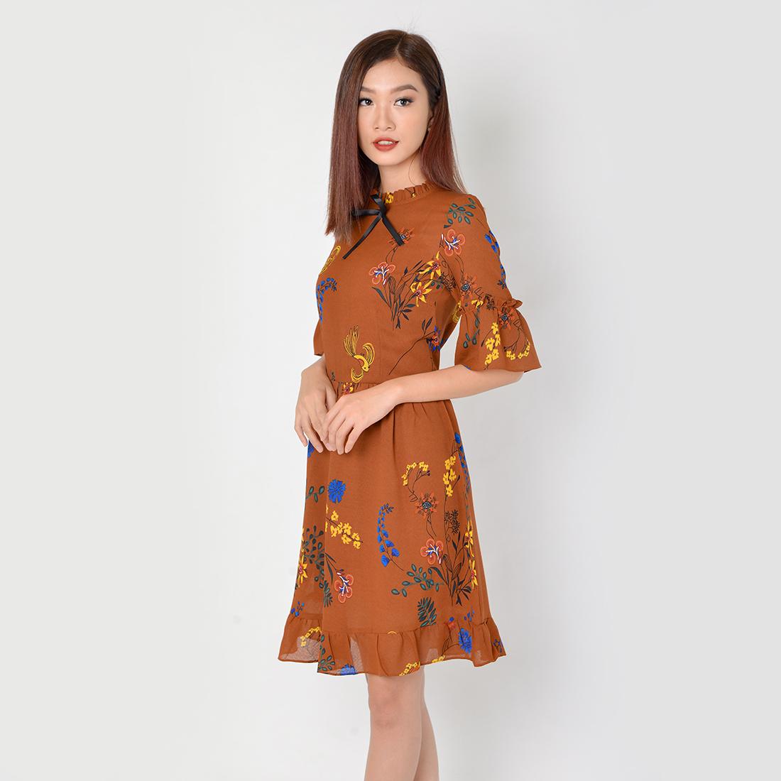 Đầm Công Sở Thời Trang Eden Tay Lỡ - D325 - Màu nâu