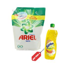Nước giặt Ariel đậm đặc SPT 3.6 kg (Tặng Nước rửa chén SUNLIGHT Chanh 400g)
