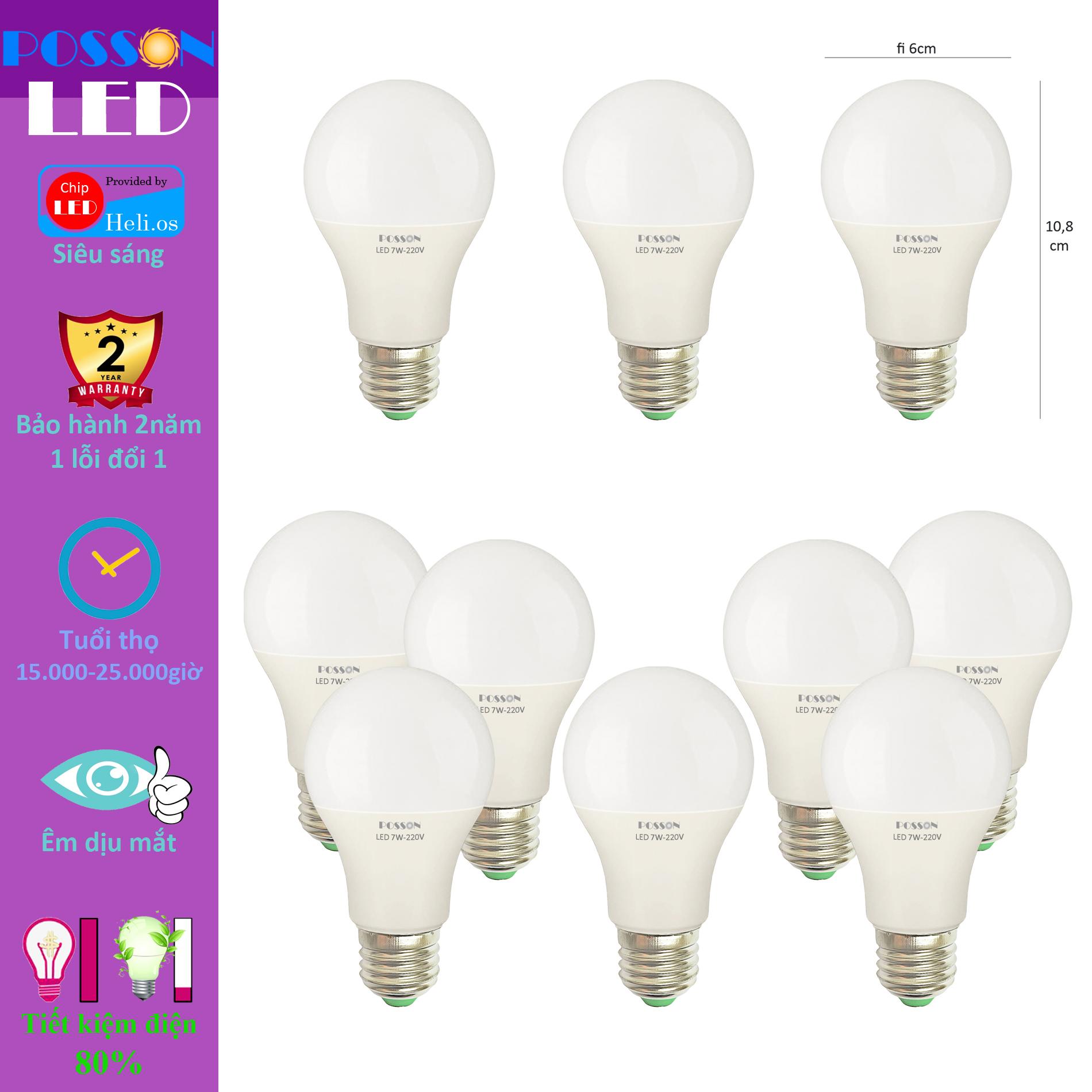 10 Bóng đèn Led 7w A60 tròn bup bulb kín chống nước tiết kiệm điện siêu  sáng Posson LB-H7x - P674773   Sàn thương mại điện tử của khách hàng  Viettelpost