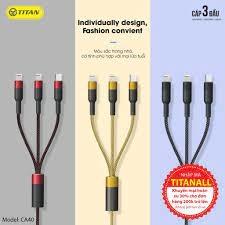 Cáp 3 đầu lightning + lightning + micro TITAN-CA40  cho IP 5 6 7 8 11 12 XR X XS MAX /Samsung CHÍNH HÃNG