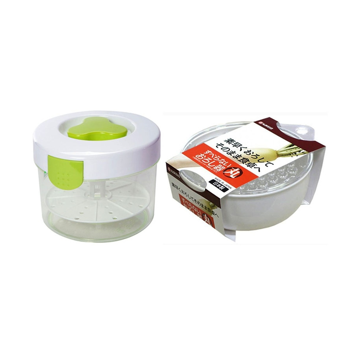 Combo Hộp muối dưa cà 3L loại tròn + Bàn nạo rau, củ quả kèm bát đựng - Nội địa Nhật Bản