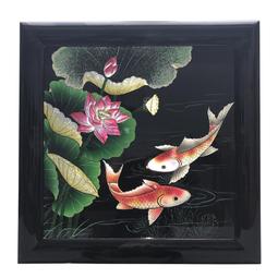 Tranh Sơn Mài Hoa Sen - Cá Chép Vẽ Đắp Nổi N2 - 40x40cm